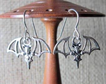 Stylised Bat Dangle Silver Earrings - Bats Drops on Sterling Silver Hooks