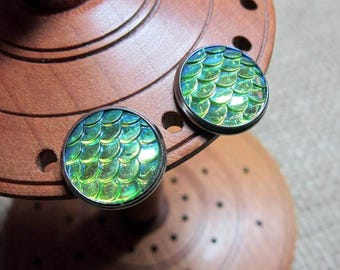 Metallic Green & Yellow Dragon Scale 14mm Stainless Steel Stud Earrings ~ Studs Posts Jewellery Jewelry