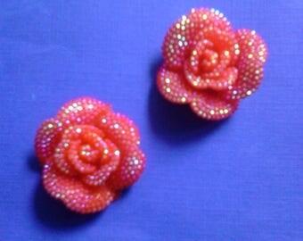 Kawaii red rose with rhinestones cabochon    2 pcs---USA seller