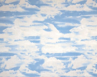 White and Sky Blue Clouds Print Pure Cotton Fabric--By the Yard