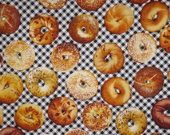 Assorted Bagels on Black and White Check Print Pure Cotton Fabric--By the Yard