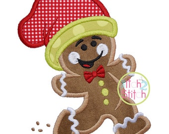 Running Gingerbread Man Applique, 4x4, 5x7, & 6x10, shown with our Tuesday font NOT Included, INSTANT DOWNLOAD available