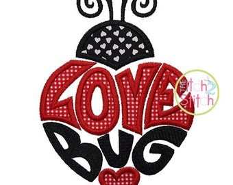 Love Bug Ladybug 2 Applique Design For Machine Embroidery,  INSTANT DOWNLOAD now available