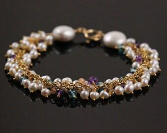 AAA Pearl Bracelet, Purple Amethyst, Blue Apatite, Yellow Imperial Topaz, 14k Gold Filled, Gemstone Cluster, February November June