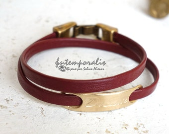 Bronze and burgundy leather bracelet, Dream, OOAK, SABR36
