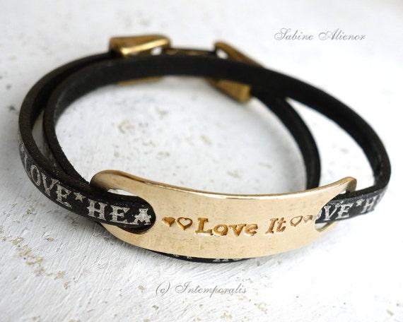 Bronze and black leather bracelet, Love it, OOAK, SABR19