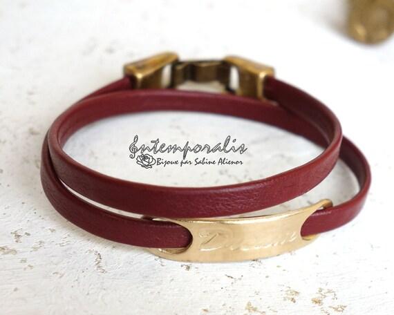 Bronze and burgundy leather bracelet, Dream, OOAK, SABR36