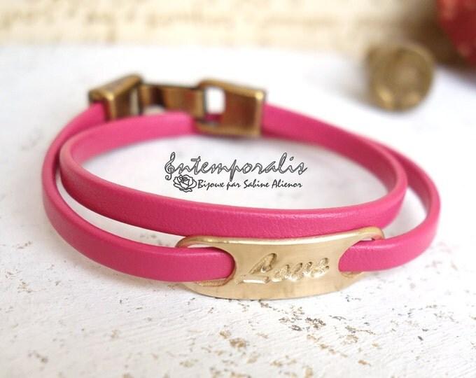 Bronze and fushia leather bracelet, Love, OOAK, SABR39