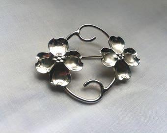 Vintage Sterling Pin, Sterling Pin Brooch, Handmade Sterling Pin, Nye Sterling Pin, Nye Flower Brooch, Vintage Stuart Nye, Dogwood Brooch