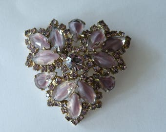 Juliana or Juliana style purple or light amethyst white frosted givre glass, rhinestone brooch pin