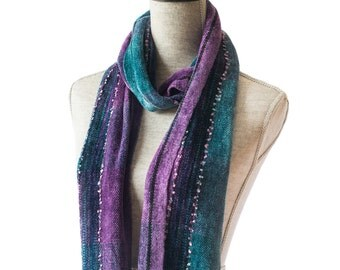 Chenille Scarf with Purple and Teal Colorblock