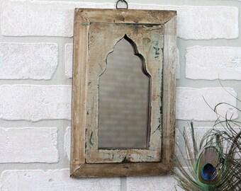 Moroccan Mirror Small Mirror Taupe Accent Mirror Vintage Reclaimed Wood Mirror Wall Art Distressed Mirror Moroccan Decor Turkish Interior