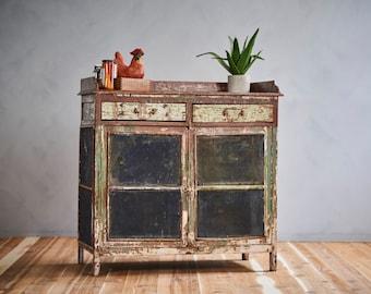 Vintage Brown Green Lightly Restored Indian Industrial Farm Chic Wire Mesh Chicken Wire Storage Cabinet Curio Media Cabinet