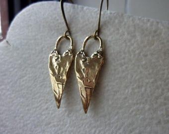 Golden Bronze Heart Earrings, Artisan Earrings, Petite Earrings