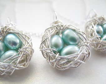 Set of Three Bird Nest Necklaces, Three Robin's Egg Blue Cultured Freshwater Pearls in Wire Wrapped Nest Pendants on Chains, Knottin' Nests