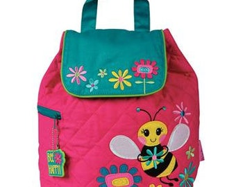 SHIPS NEXT DAY--Personalized Monogrammed --New Pattern Stephen Joseph Kid Quilted Pink Teal Bumble Bee  Backpack-Free Monogramming-