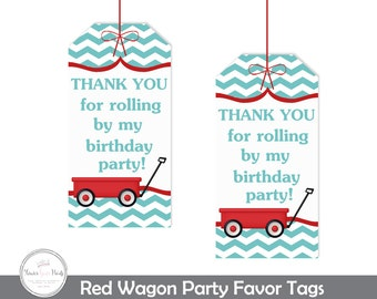 Red Wagon Favor Tags, Red Wagon Party, Red Wagon Birthday, Red Wagon Party Favors, Little Red Wagon, Little Red Wagon, Red Wagon Gift Tags