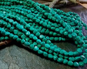 Turquoise, Tibetan, Irregular Nuggets, Soft Turquoise Blue, 5 to 6mm, Grade A, Half Strands