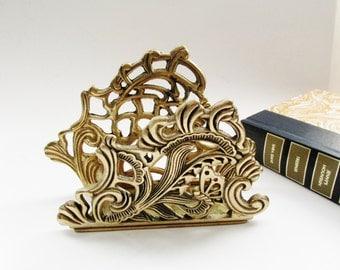 Ornate Brass Letter Holder, Napkin Holder, Hollywood Regency, Home Office Decor, Brass Decor