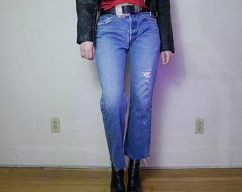 """Vtg 90s distressed Levi's 501s medium faded blue wash boyfriend denim waist 30"""", hips 42"""", inseam 28"""", rise 11"""""""