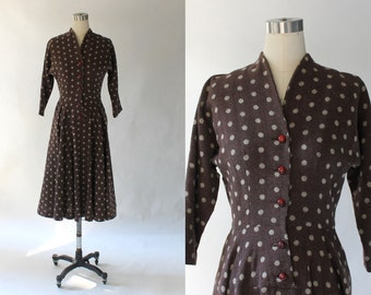 Vintage 1940s Nat Tuman Polka Dot Wool Dress // 40s Brown Wool Dolman Sleeve Full Skirt Dress // Medium