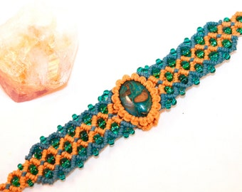 Ghost Eye Jasper hemp bracelet cuff, macrame, micromacrame, hippie, gypsy, bohemian, hemp jewelry, teal, music fesival