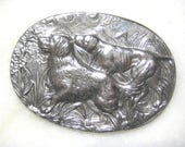 Hunting Dogs; Vintage Silver Plated Brass Stamping, Detailed Oval Medallion, Pin Topper, Pendant Finding, Scrapbooking, 60mm by 43mm, 1 Pc.