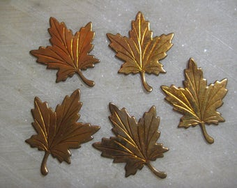 Vintage Brass Maple Leaves; Flat Detailed Stamped Brass Leaf Design, No Hole, Brass Jewelry Findings, Trim, Decoration,  28mmx22mm, 5 Pcs.