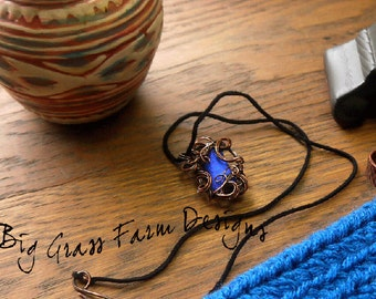 Wire Wrapped Necklace, Blue Dichroic Glass Pendant, Unique gift for Bridesmaid Rustic Wedding, College Student, Mothers Day Gift for Her