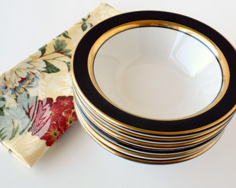 Restaurant Ware Serving Bowls. Homer Laughlin Westchester. Black and Gold. Replacement China. Vintage Dinnerware. Wedding Tableware.