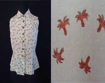 Palm Tree Novelty Print Vintage 1950's Rockabilly Women's Sleeveless Blouse Shirt XS S