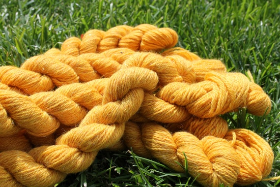 Merino Wool Yarn Gold  with Angelina - 5/50- 75 yards per skeins BARGAIN - Close Out Yarn  Knitting Crochet Weaving Spinderellas Creations