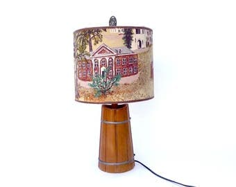 Vintage Grandma Moses Barkcloth Lampshade ... Williamstown Painting Fabric, Folk Art Table Lamp, Rustic Americana Primitive Lighting