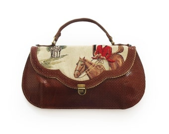 Brown horse print handbag, Leather horse  purse, horse print bag, Women's cross body purse, Unique gift for the holidays, Christmas gift