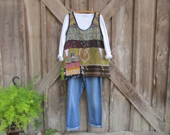 camisole vest tunic layering piece one of a kind made from vintage Kantha quilt patchwork ready to ship