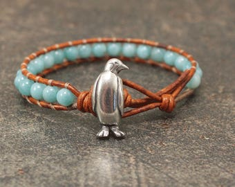 Turquoise Penguin Bracelet Gemstone Penguin Jewelry Amazonite and Leather Wrap Bracelet
