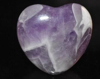 "26x26x13mm 1"" Violet Dream~Natural Dogtooth CHEVRON AMETHYST Puff Heart Palm/Pocket Healing Crystal Stone - L1069"