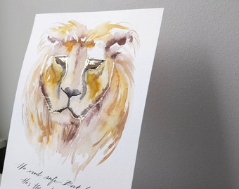 Aslan 8x10 Lion Painting He isn't safe. But he is good. He's the King, I tell you. C.S. Lewis quote Narnia Mixed Media Painting