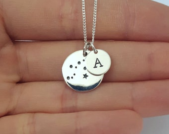 Sterling Silver Aquarius Necklace, Personalized Jewelry, Initial Zodiac Necklace, Constellation Necklace, Mother's Gift, Birthday Gift