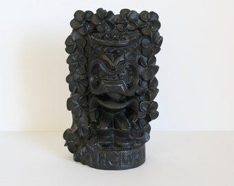 A Hip Original 1974 Black Lava Tiki Figurine Made in Hawaii 8-1/4""