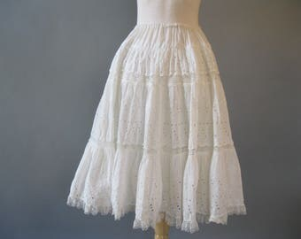 Eyelet Peasant Skirt -1970s White Cotton and Lace Skirt - Vintage 70s Boho Tiered Skirt - Festival Size Small to Medium