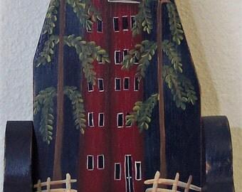 Primitive Votive Candleholder  Hand Painted