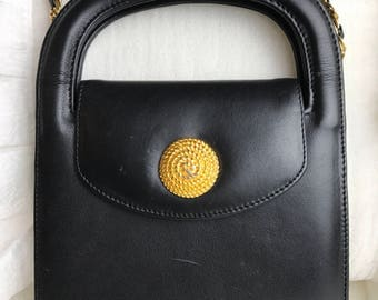 Vintage 1980's Monet Small Black Leather Purse