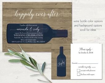 Vineyard Wedding Invitations Rustic Wine Country Wedding Color Options Wine country Wine Bottle Barn Wood Invite RSVP Set Printable Template