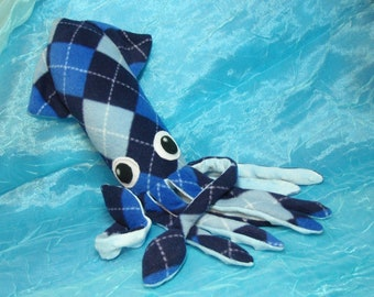 Alistair the Blue Argyle Fleece Squid Plushie Stuffed Animal