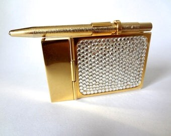 Vintage Judith Leiber Notepad & Pen - crystal and gold tone glam purse accessory