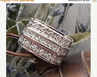 70% OFF MOVING SALE Extravagant Huge Vintage----Channel Set Cz Sterling Silver Ring ----Heavy ---Hallmarked---Unisex