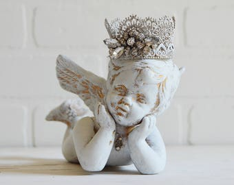 Shabby Cherub, French Nordic Cherub, Cherub, Cherub with Crown, French Cherub, Angel Baby, White Cherub, Cherub Baby, Crowned Cherub,