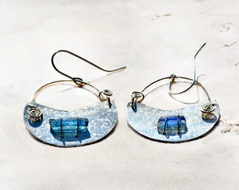 Blue Roman Glass Silver Earring Roman Glass Jewelry from Israel Roman Glass Israel Roman Glass Crescent Earring Silver Jewelry Free Shipping