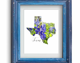 Texas Bluebonnet Map Print {Digital}